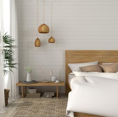 Makuuhuone, jossa ruskea sisustus